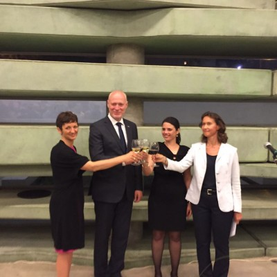 left to right: H.E. the Minister of Education, Science and Sport (Slovenia); H.E. the President of the National Assembly (Slovenia), H.E. the Minister of Justice (Israel), H.E. the Ambassador of Slovenia to Israel
